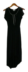 Glitterscape Size XS Short Sleeved Round Neck Embellished Black Dress A417785