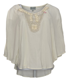 Glitterscape Size S Embellished Neck Chiffon Batwing Sleeved Ivory Top A415644