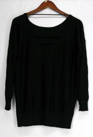 Glitterscape Size S V-Back Shimmer Detail Tunic Top Black Womens A420703