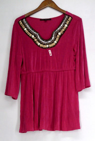 Affinity for Knits S 3/4 Sleeved Embellished Neck Cinched Waist Pink Top A409956