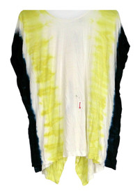 WD.NY Top Sz M Cap Sleeve Tie Dye Top w/ Hi Lo Hemline Yellow Womens A425609