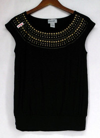 Glitterscape Size S Dropped Shoulder Beaded Trim Scoop Neck Black Top A410344