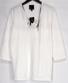 Carson Kressley Sz L 3/4 V-Neck Sweater w/ Over d Zipper Winter White A413704