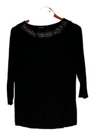 Effortless Style by Citiknits Top Size XS Sequined Jersey Knit Black Womens