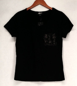 Fairchild Top Sz S Short Sleeve Scoop Neck w/ Sequined Pocket Black A426177