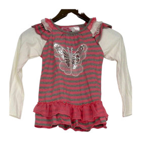 Young Hearts Size 6X Toddler Butterfly Print Striped Knit Top Pink / Gray