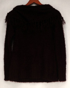 Curations Sweater Sz XS Long Sleeve Fringed Cowl Neck Purple Womens 505-653