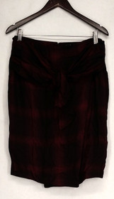 Giuliana Size 10 Zip Closure Tie Front Wrap Detail Skirt Red Womens 486-656