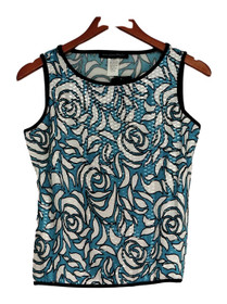 aDRESSing WOMAN Size S Printed Sparkled Tank Blue Top Womens