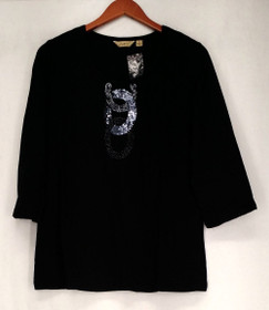 Motto Size M 3/4 Sleeve Embellished Pull Over Black Top Womens