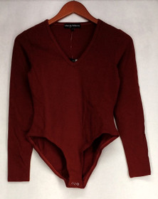 Wendy Williams Shaper Sz XS Jersey V-Neck Body Suit Red Womens 493-326