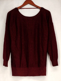 Glitterscape Sweater Sz S V-Back Straps Shimmer Detail Brick Red Womens A420703