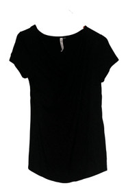 NY Collection Top Sz S Crossover Detail Short Sleeve Black Womens