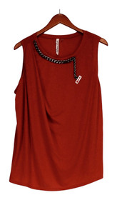 NY Collection Plus Size Top 1X Chain Necklace Red Orange Womens