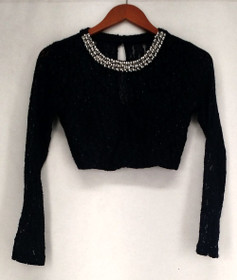 Speechless Top 3 Lace overlay, Back Zipper Navy Blue Womens