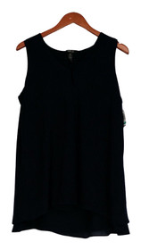 Style & Co. Plus Size Top 0X Buttoned V Neck Sleeveless Industrial Blue