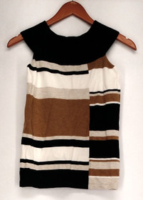 INC Petite Size Top P/S Sleeveless Striped Pull Over Brown Womens