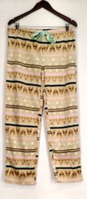 Harve Benard Sz Lounge Pants, Sleep Shorts L Printed Fleece Pants Brown S420750
