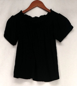 Ultra Flirt Top Sz S Elastic Neckline Stretch Knit Pleated Black Womens