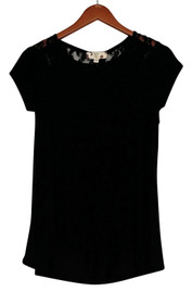 Hippie Rose Top Sz S Short Sleeve Lace Detail Knit Top Black Womens
