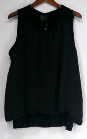Serena Williams Plus Size XS Sleeveless Scoop Neck w / Satin Overlay Black Top