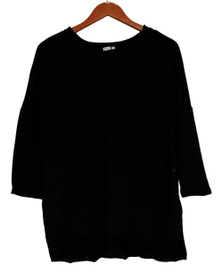 Holly Robinson Peete Top S Baby Terry Dolman Drop Shoulder Sleeve Black A408363