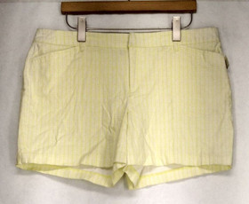 Attention Sz 14 Flat Front Bright Yellow / White Shorts Womens