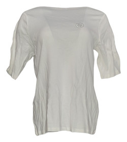 Charter Club Plus Size Top 0X Short Sleeve Boat Neck Tee White Womens