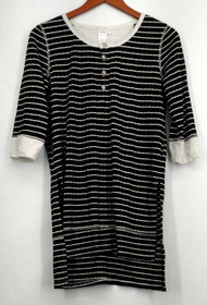 Holly Robinson Peete Top Sz XS 3/4 Sleeve Striped Rib Knit Henley Black A426707