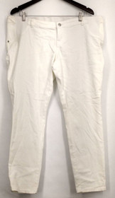 Liz Lange Maternity Jeans Sz XL Front Zippered Pocketed White Womens