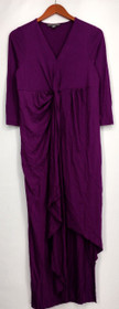 Kate & Mallory Dress S 3/4 Sleeve V Neck With Twist Front Center Purple A428763