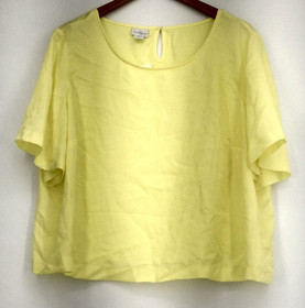 Jaclyn Smith Plus Size Top 2X Short Sleeve Textured w/ Keyhole Yellow