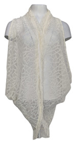 Meghan Fabulous Sz S Shawl Collar Open Front Fringed Ivory Vest A217239