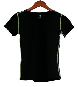 Sample Top Sz S Stretch Knit Short Sleeve Scoop Neck Tee Black Womens