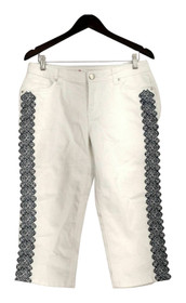 OSO Casuals Jeans Sz 10 Embroidered Side Pocketed Capri Length White A429408