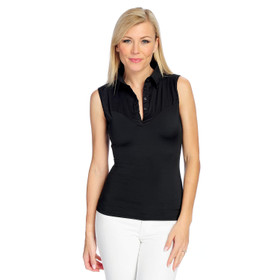 """Slim 'N Lift """"Perfect Fit"""" Sleeveless Woven Button Front Top Black Sz L S419332"""