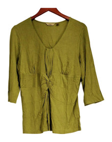 Motto Size L 3/4 Sleeve Tee w/ Gather Front & Knot Detail Green Top A92535