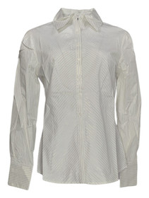 Elisabeth Hasselbeck for Dialogue Sz 8 Button front Shirt Metallic White A89248