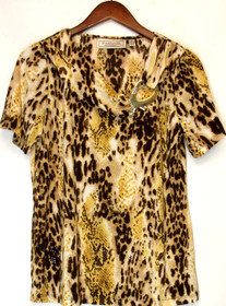 George Simonton Size S Animal Print Short Sleeve Top Natural Brown A201569