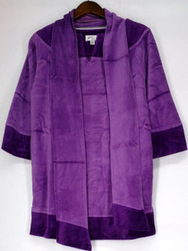 LifeStyle by Legacy Size S 3/4 Sleeve Velour Banded Neck Tunic Purple Top A95548