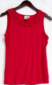 M by Marc Bouwer Sz M Lace-Up Detail Tank Top True Red a212499