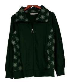 Sport Savvy Size M Embroidered Zip Front w/ Pockets Green Jacket A92622