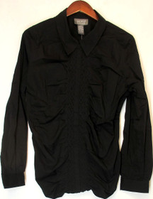 Motto Size L Long Sleeve Ruched Woven Shirt w/ Black Womens