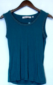 Davies by Erica Davies Size XXS Embellished Knit Top Aqua Blue A201642