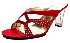 Annie Shoes Womens Size 7.5 Narrow (AA N) Marlene Satin Slides Red Sandals