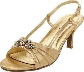 Annie Shoes Womens Size 6.5 Medium (B M) Lola Slingback Gold Sandals Womens