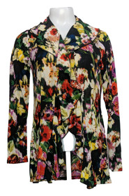 Gramercy 22 Top S Floral Print Double Ruffle Cardigan Black / Red/ Green A424263