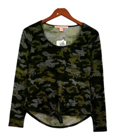 Rebellious One Top Sz XS Patch Pocket Tie Hem Camo Green Womens
