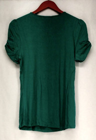 Motto T-Shirt Sz S Scoop Neck Gathered Sleeve Basic Tee Teal Blue Womens