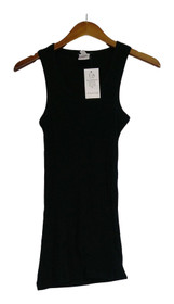 Icon Apparel Sz M Top Sleeveless w/ Ribbed Detail & Scoop Neck Black Womens